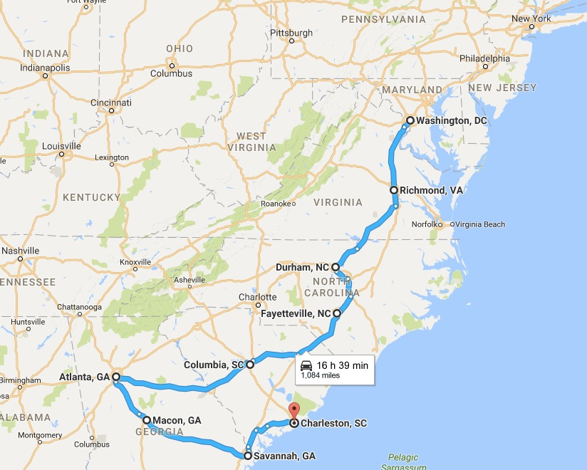 Map of the bus ride from Washington DC to Charleston
