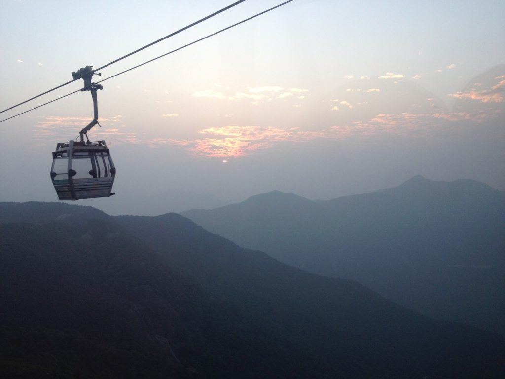 Cable cars in the sunset