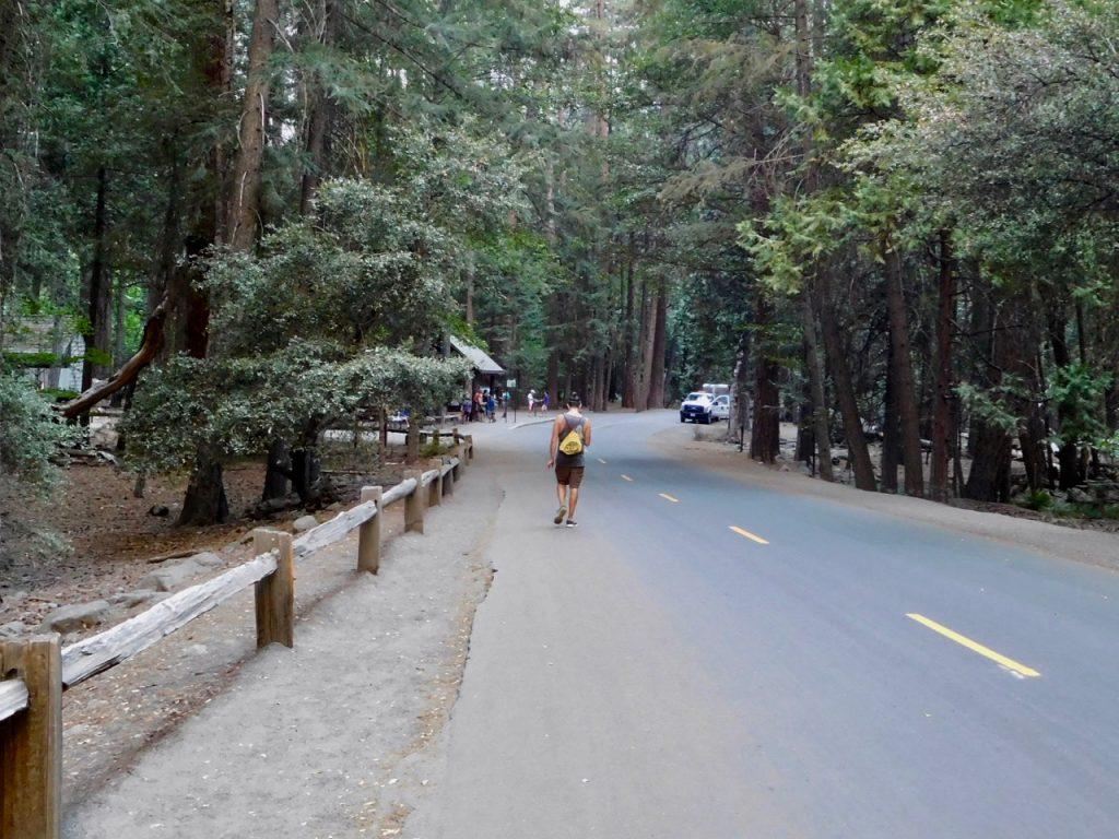 Simone at the shuttle stop Yosemite NP