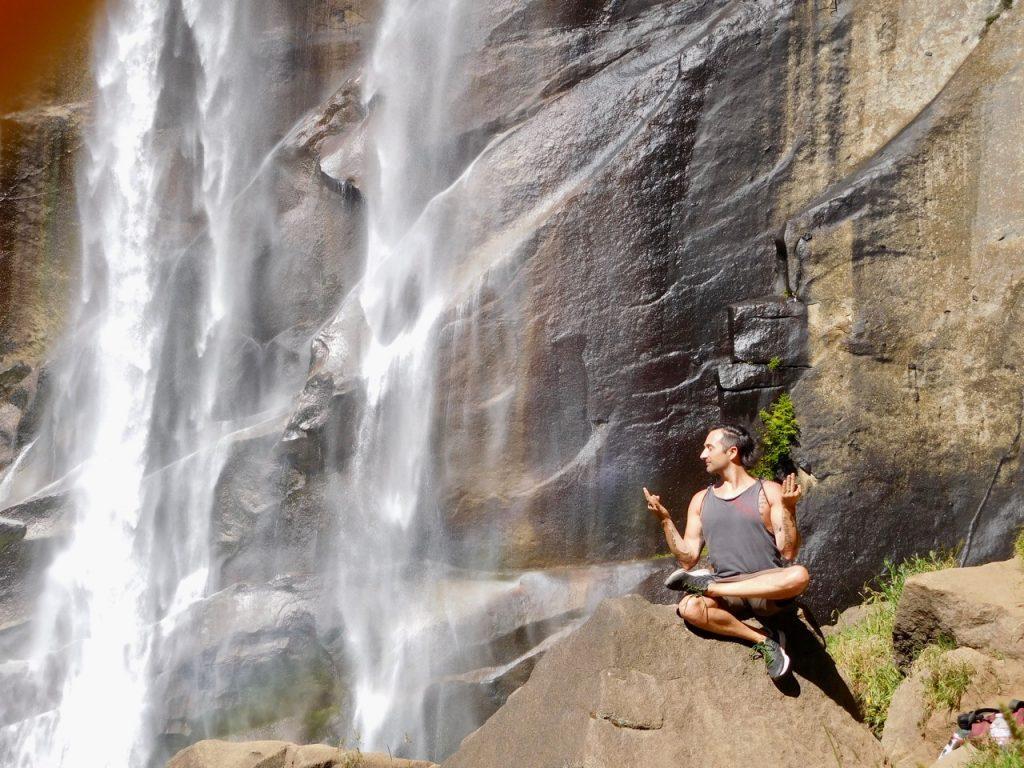 Simone yogi pose at Vernal Falls