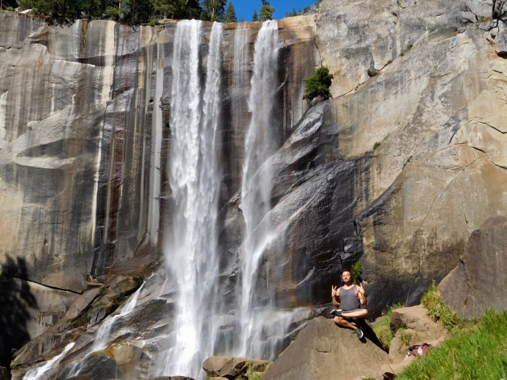 Simone in front of the Vernal Falls