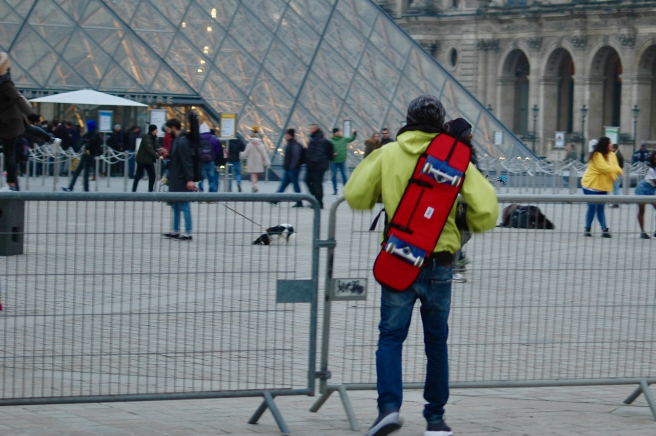 Simone just arriving at the Louvre Pyramid