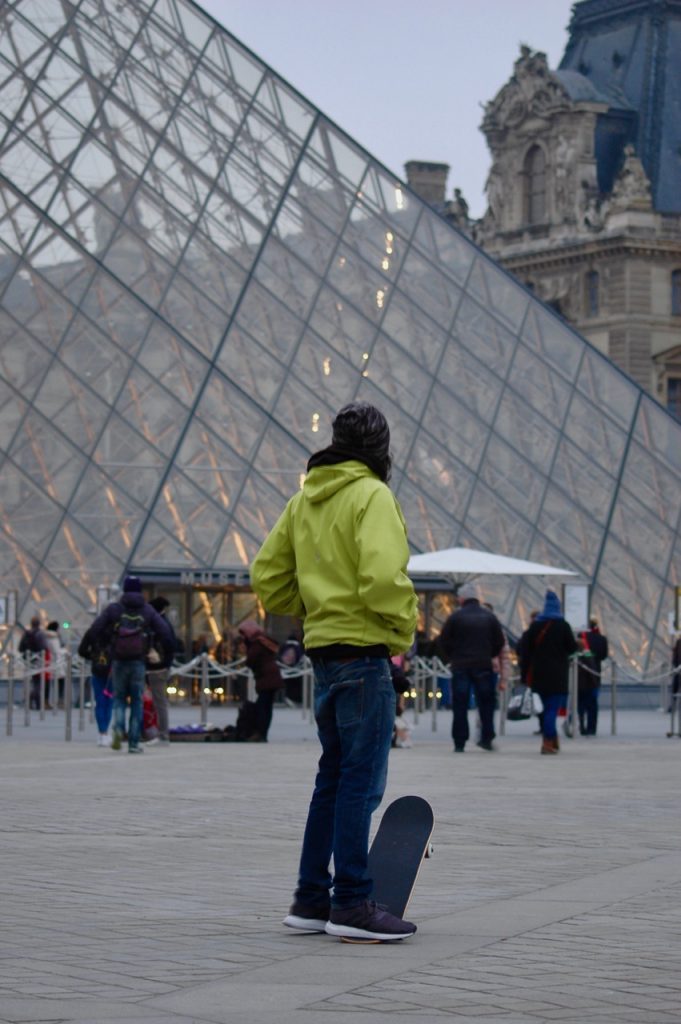 Winter in Paris - Skateboarding at the Louvre Pyramids (07)