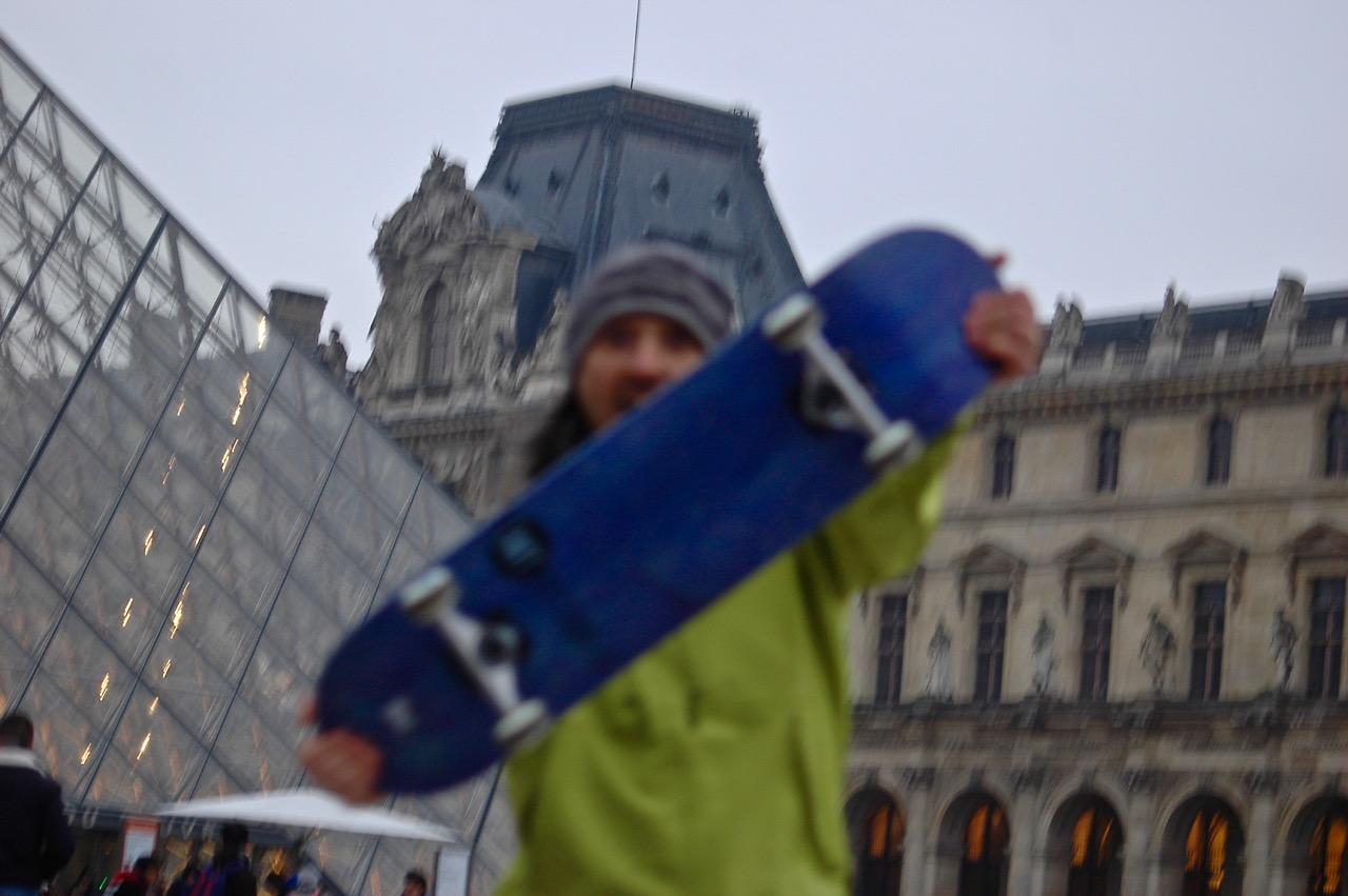 Winter in Paris - Skateboarding at the Louvre Pyramids (05)