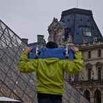Winter in Paris: Louvre Pyramids on a Skateboard