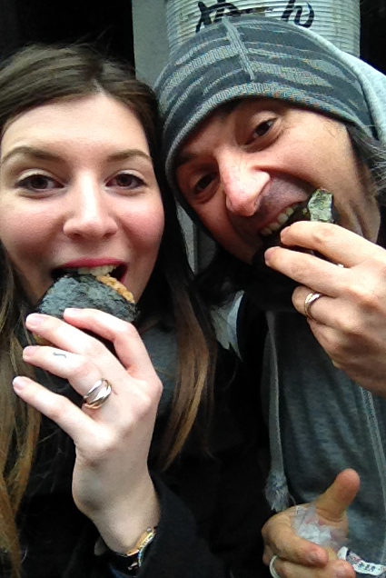 Alice and Simone eating onigiri in Tokyo