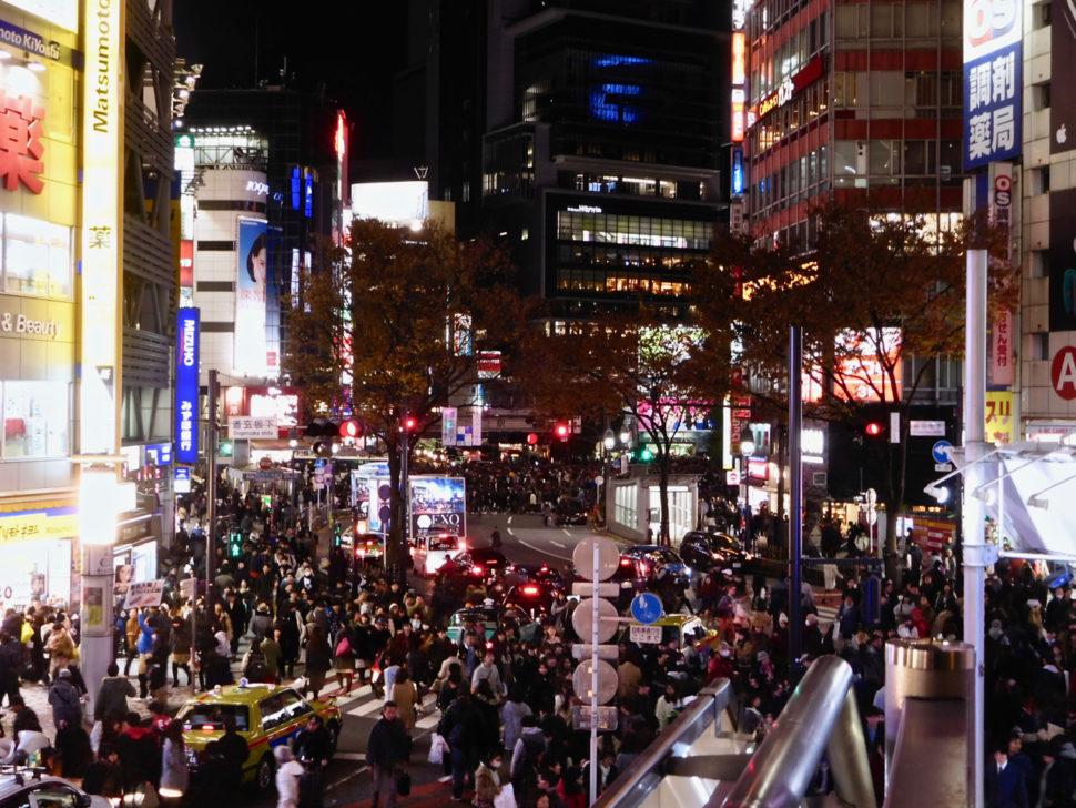 Shibuya Crossing at night in Tokyo