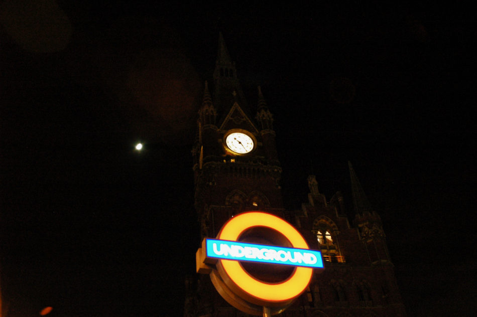 A night view of St Pancras during our Harry Potter weekend in London