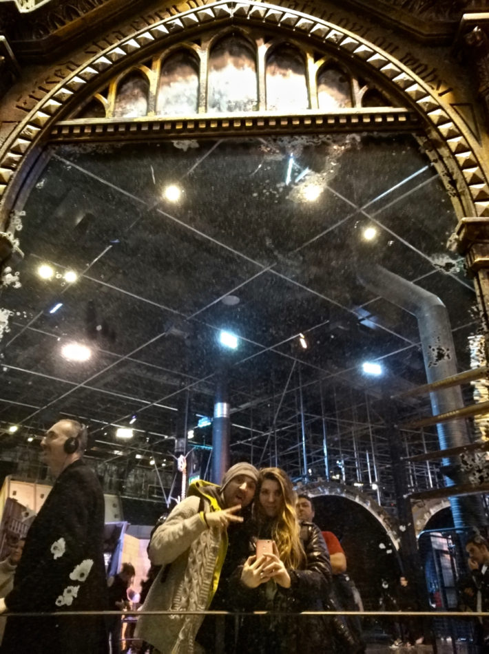 Alice and Simone in the Mirror of Erised at the Harry Potter Studios in London