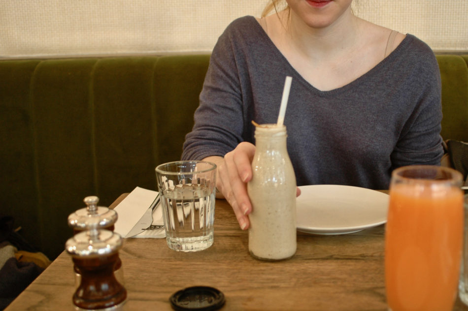 Alice and our drinks at Farmacy restaurant in Notting Hill