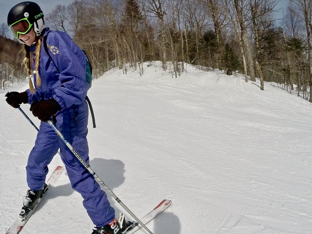 Alice on the slopes of Mont Orford, a Canada ski resort east coast