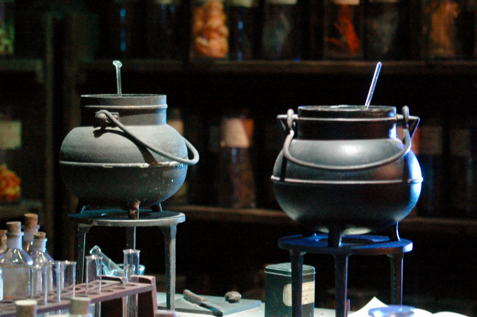 Cauldrons in the Potions Classroom at the Harry Potter Warner Bros Studio