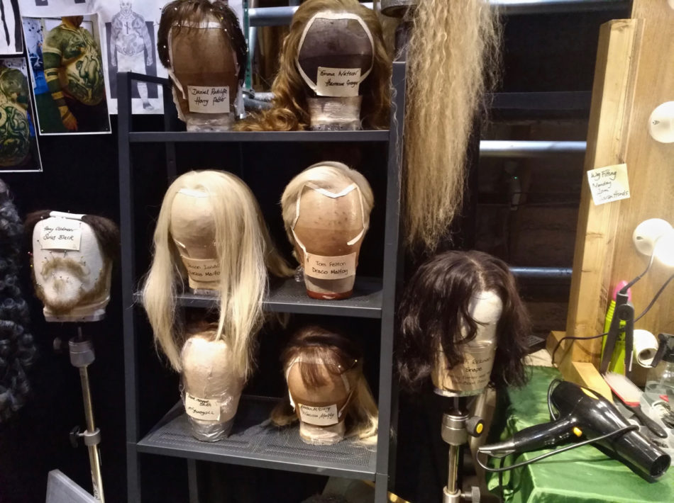Characters wigs at the Harry Potter Warner Bros Studios in London