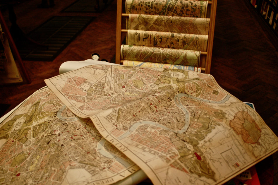 Maps in Daunt Books during our Harry Potter weekend in London