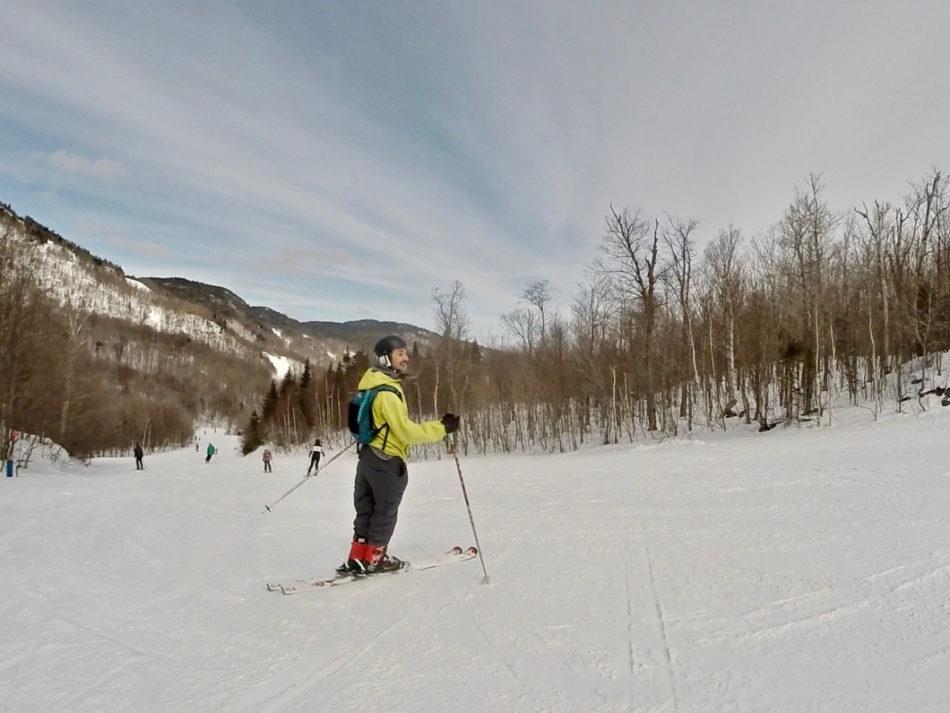 Simone skiing on the ski mountain Mont Orford close to Montreal