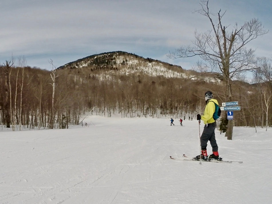 Simone on the slopes of Mont Orford - the best ski resort in Quebec