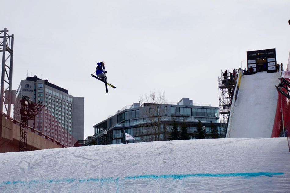A contestant at Big Air World cup doing a figure