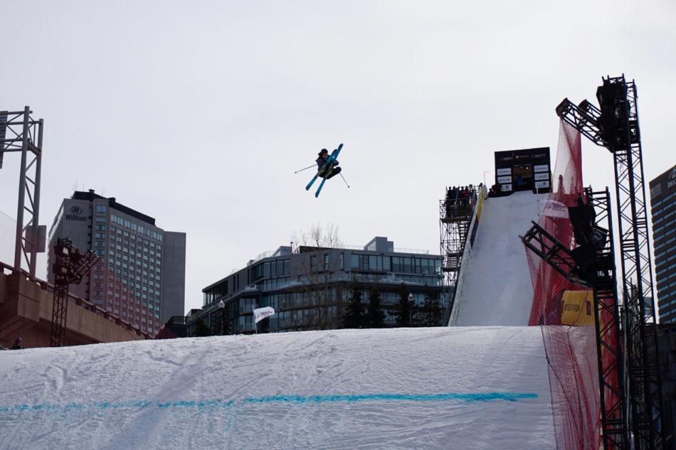 A contestant of Big Air competition doing a flip