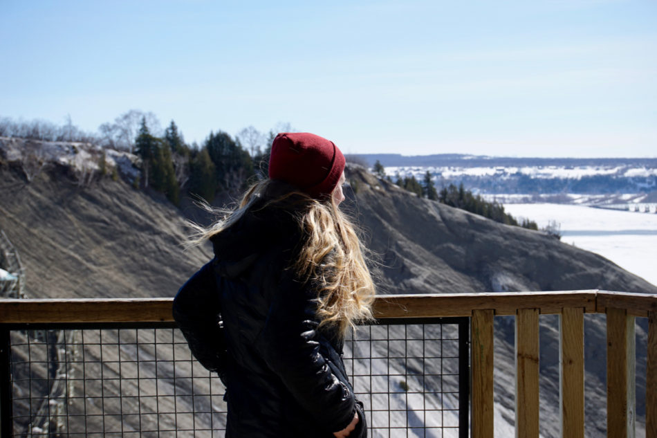 Alice admiring the view at Montmorency Falls in Québec