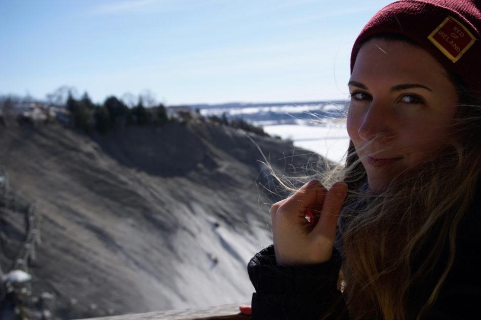 Alice at Montmorency Falls in Québec