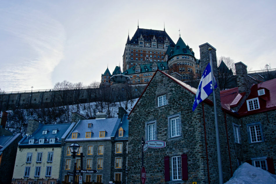 Broad view of Old Québec from the lower level with the Château Frontenac