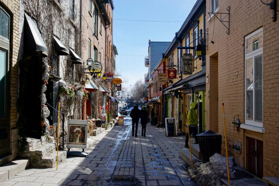 Cute Petit Champlain district street in Old Québec