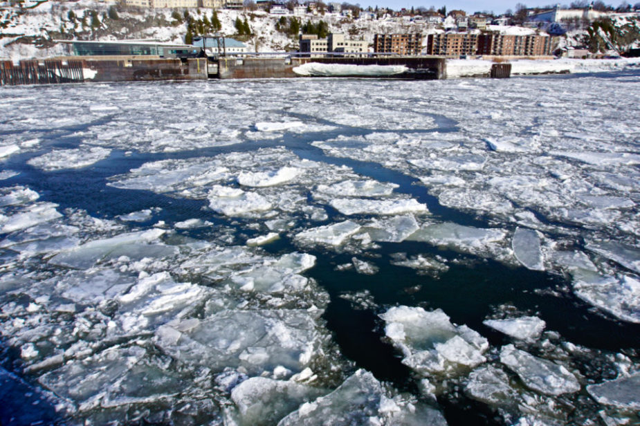 Chunks of ice in the Saint-Lawrence River from the ferry Traversiers