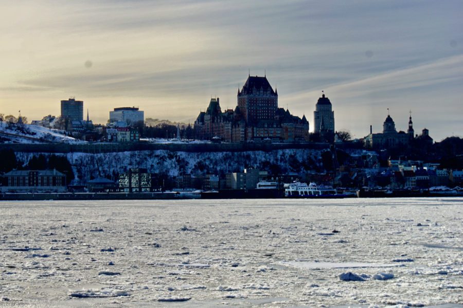 View of the Château Frontenac from the ferry leaving Lévis