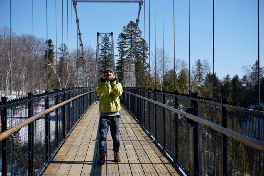 Simone on the suspension bridge above the Montmorency Waterfall in Québec