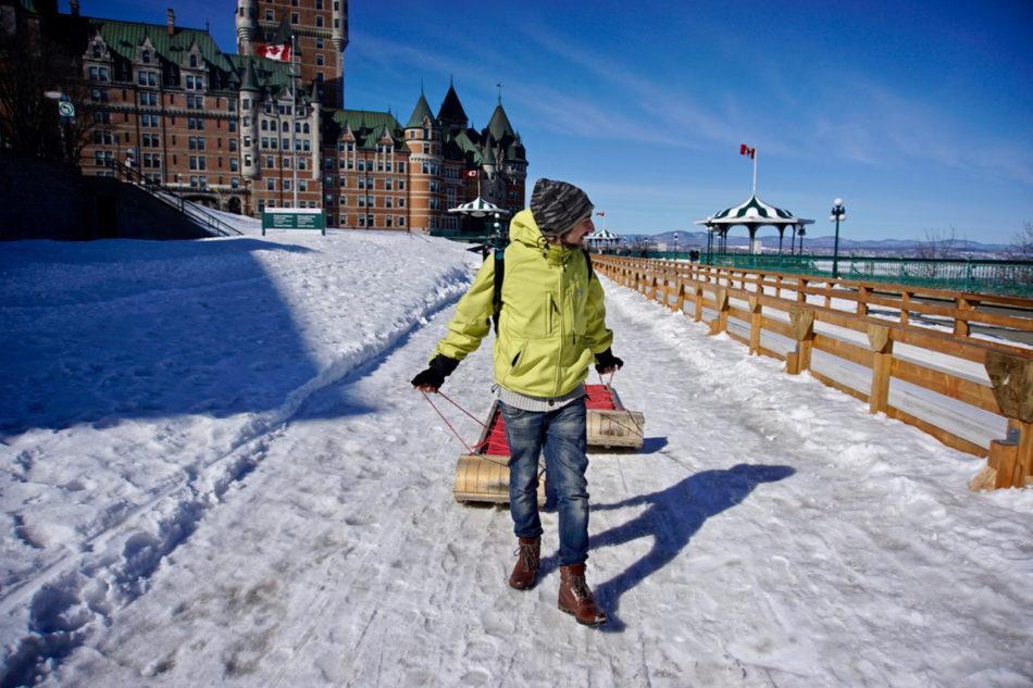 Simone pulling both sleds at the Toboggan slide in Québec city