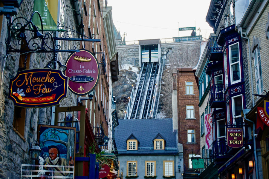 The street going to the funicular in the Petit Champlain district in Old Québec