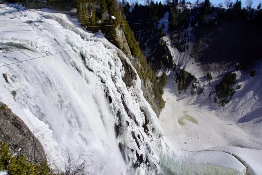 The zipline at Montmorency Falls in Québec