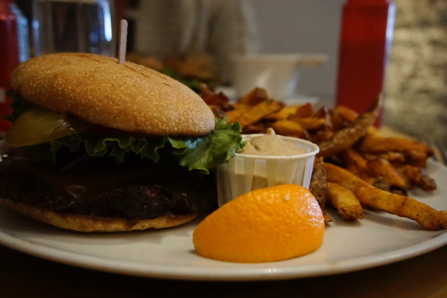 Veganator vegan burger at restaurant Chez Victor on rue Saint Jean in Québec city