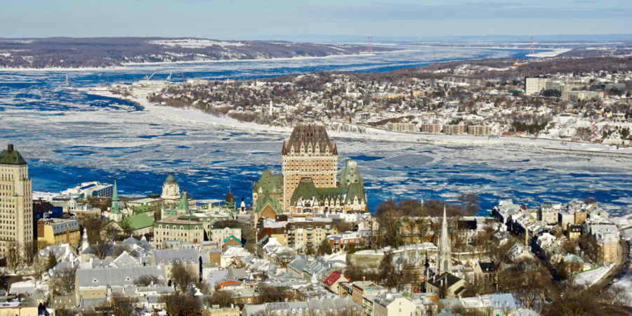 View of Château Frontenac from the panorama at Quebec city Observatory