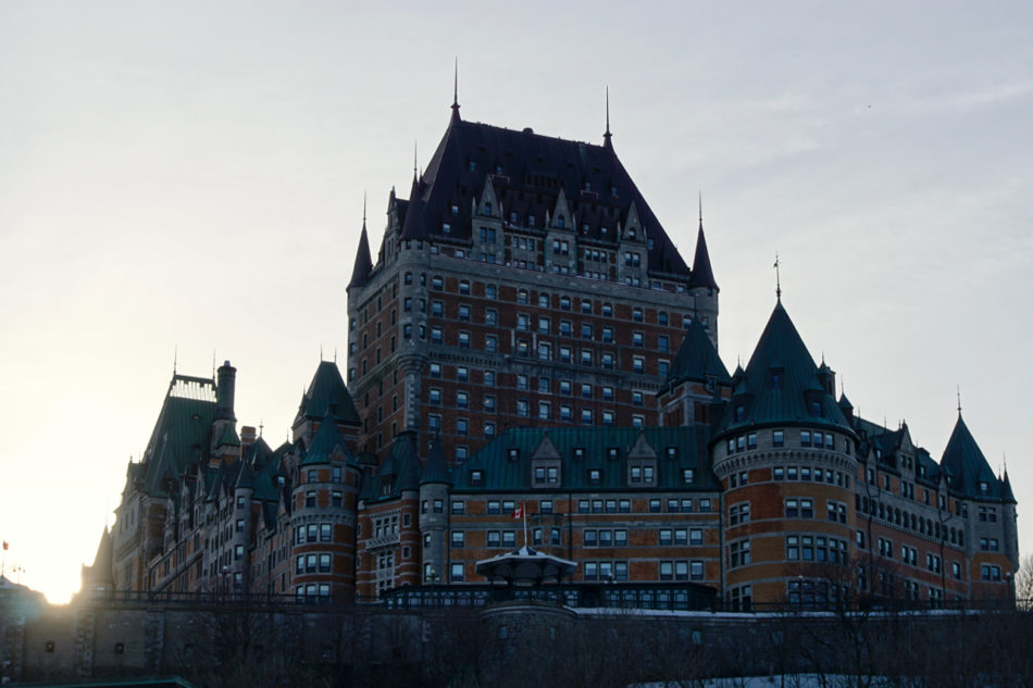 View of Château Frontenac standing at the top of Old Québec from the ferry