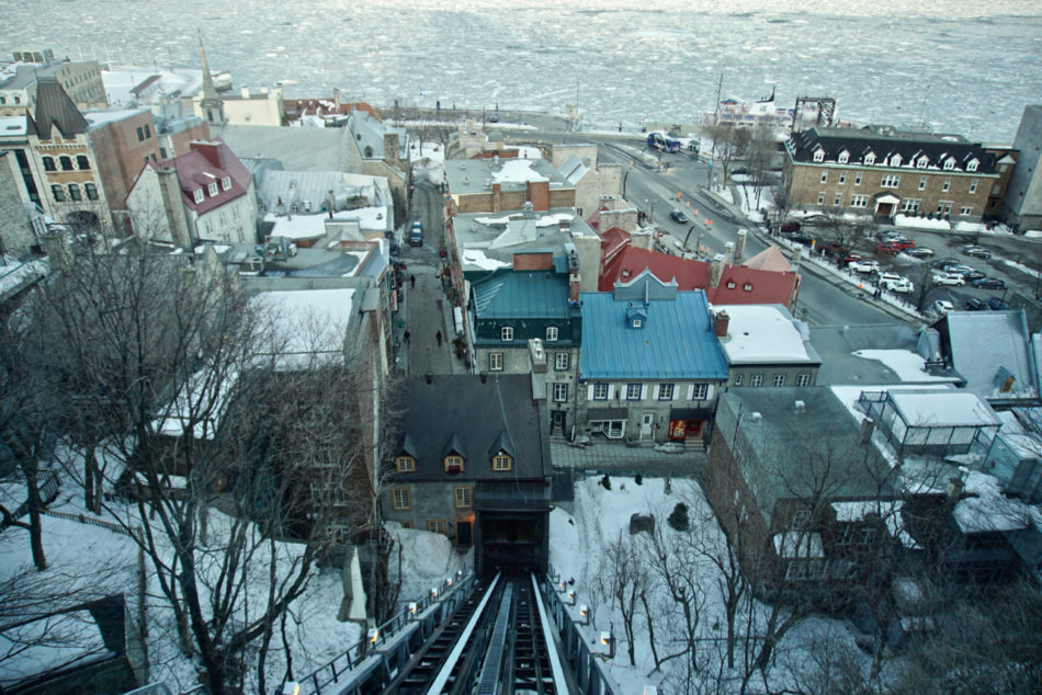View of lower level of Old Québec from inside the funicular