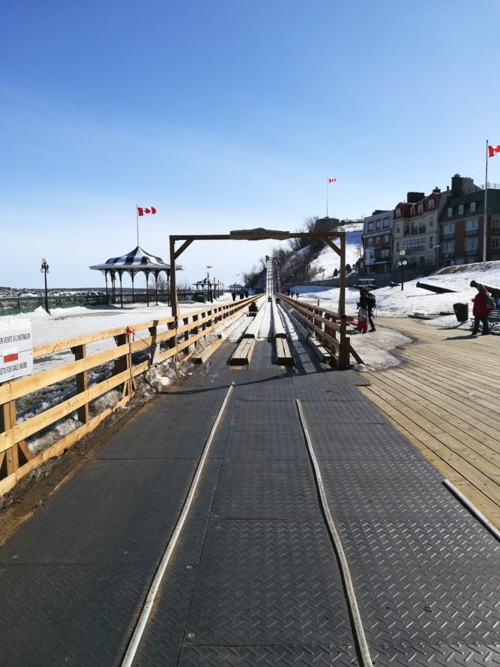 What you see of the Toboggan slide when you arrive from the funicular in Québec city