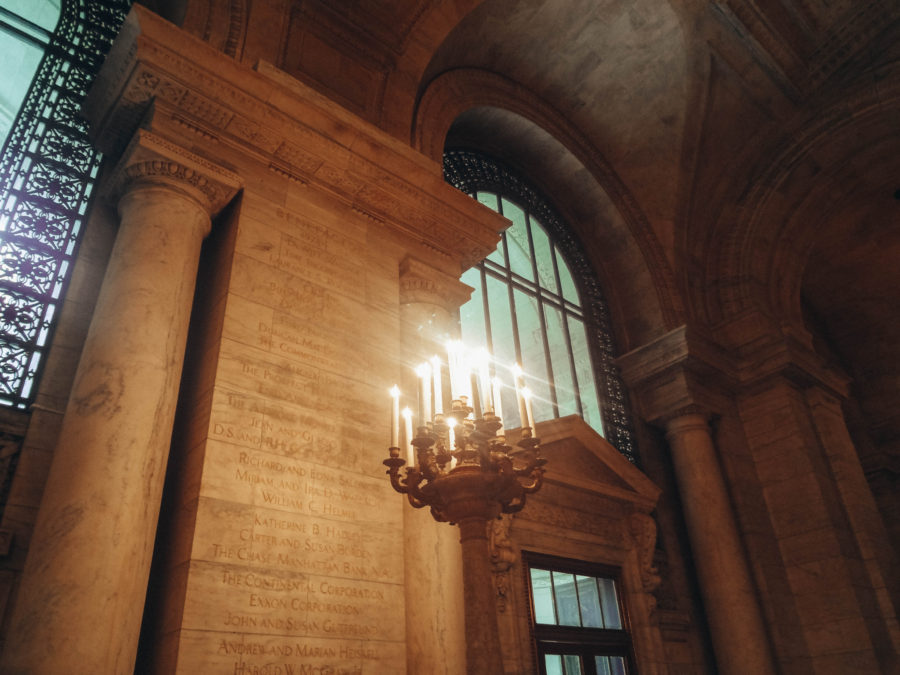 The inside of New York Public Library
