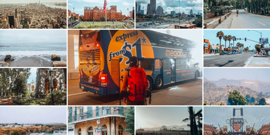 Road trip across the USA by bus collage of bus and destinations