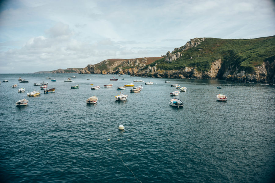 The boats and the cliff in Cléden Cap Sizun, Brittany, France