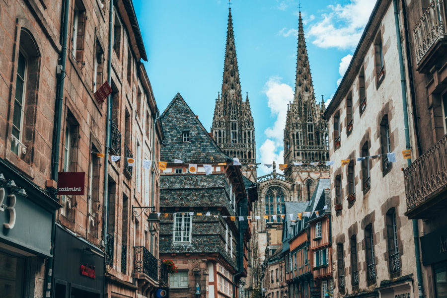 The beautiful historical city center of Quimper in Brittany, France