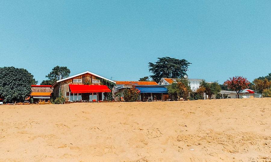 Houses on the beach in Cap Ferret, France