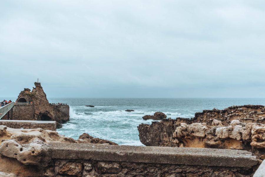 Angry sea in Biarritz on a rainy day