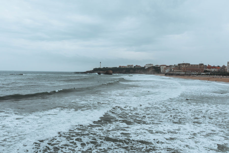 Grey view of the lighthouse in Biarritz on a rainy day