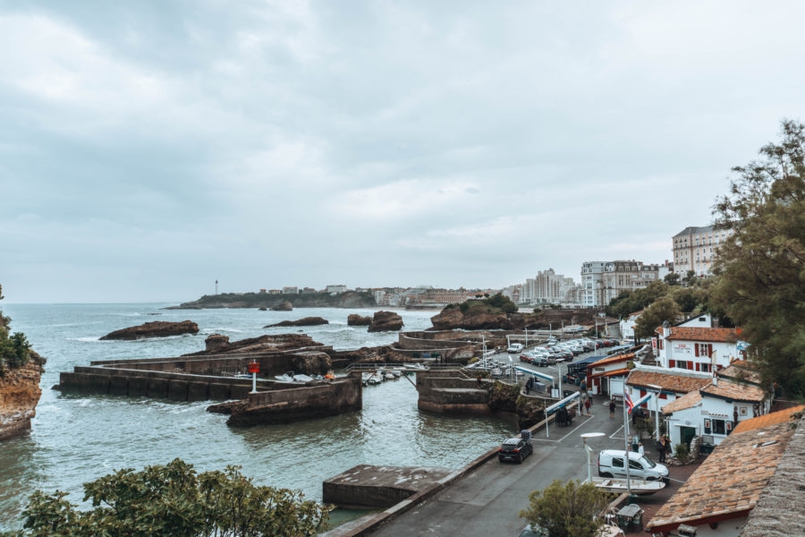 A cute port in Biarritz on a rainy day
