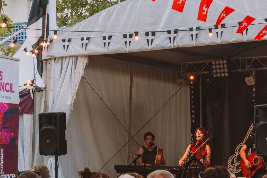 Band playing under the tents at the Inter-Celtic Festival in Lorient
