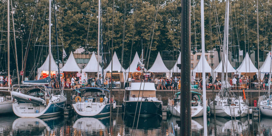 The tents at the Inter-Celtic Festival in Lorient at the port