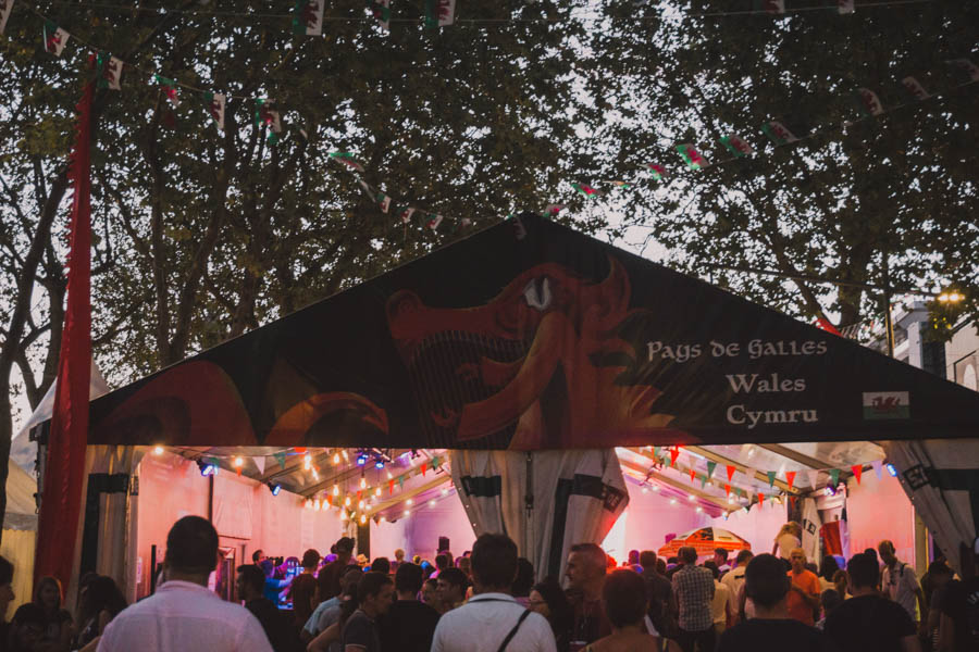 The tent of Wales at the Inter-Celtic Festival in Lorient