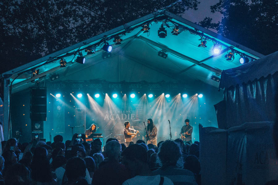 A Celtic band from the Celtic Nation of Acadia in Canada playing at night at the Inter-Celtic Festival in Lorient