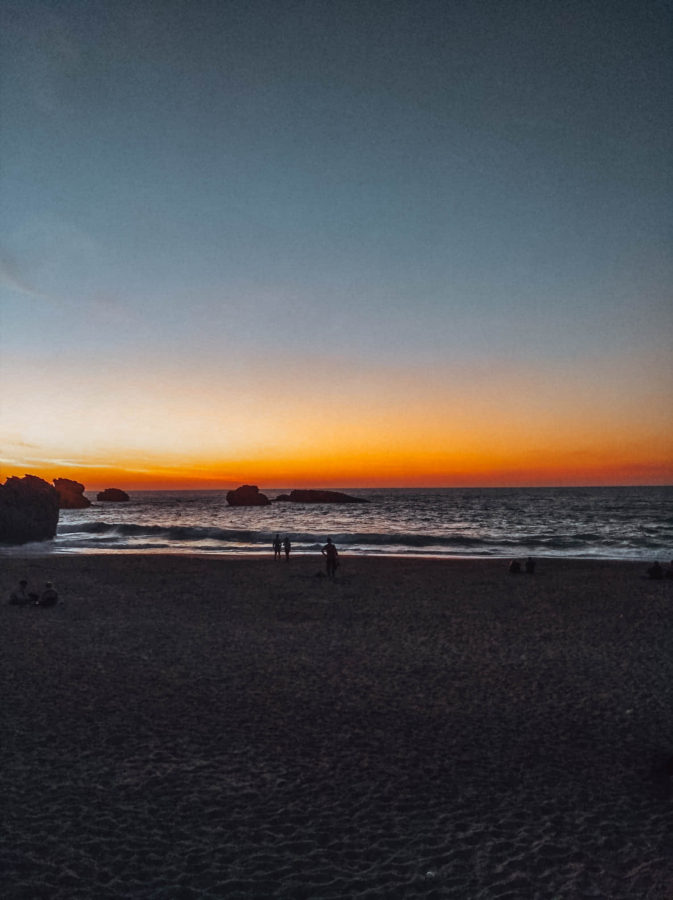 Sunset on the Grand Plage in Biarritz